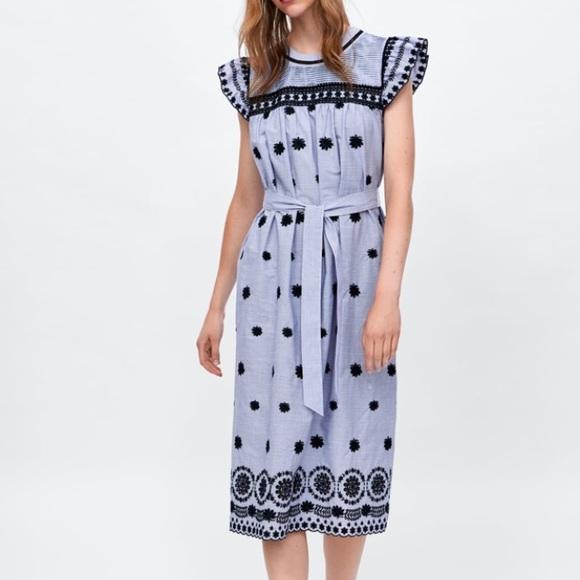 Zara Dresses & Skirts - Sold - Zara Striped dress with embroidery XS